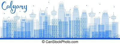 Outline Calgary Skyline with Blue Buildings.