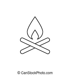 Outline campfire icon isolated on white background