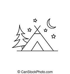 Outline camping tent icon isolated on white background
