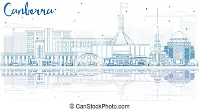 Outline Canberra Skyline with Blue Buildings and Reflections. Vector Illustration. Business Travel and Tourism Concept with Modern Architecture. Image for Presentation Banner Placard and Web Site.