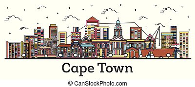Outline Cape Town South Africa City Skyline with Color Buildings Isolated on White.