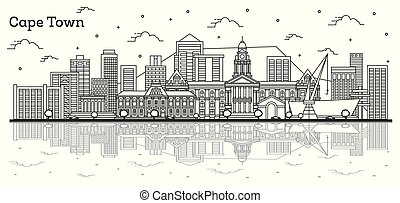 Outline Cape Town South Africa City Skyline with Modern Buildings and Reflections Isolated on White.