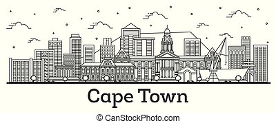 Outline Cape Town South Africa City Skyline with Modern Buildings Isolated on White.