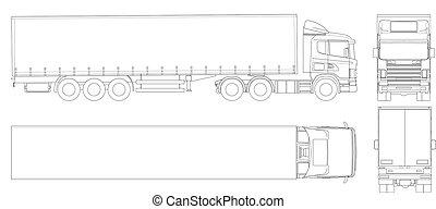 outline., cargaison, côté, commercial, livrer, top., dos, vecteur, camion, vehicle., devant, caravane, vue