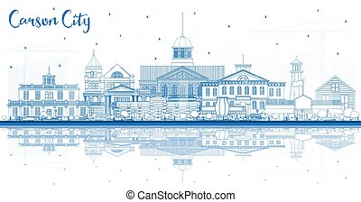 Outline Carson City Nevada City Skyline with Blue Buildings and Reflections. Vector Illustration. Business Travel and Tourism Concept with Modern Architecture. Carson City Cityscape with Landmarks.
