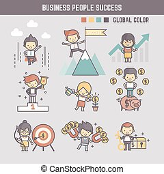 outline cartoon characters illustration of business people success set