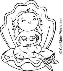 Outline cartoon mermaid. Vector isolated illustration for coloring.