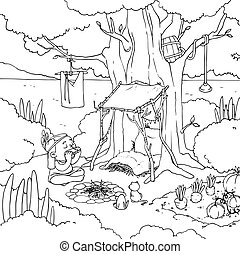 Outline cartoon native american playing harmonica near tent in forest. Vector coloring book page.