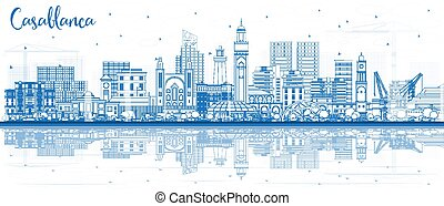 Outline Casablanca Morocco City Skyline with Blue Buildings and Reflections. Vector Illustration. Business Travel and Concept with Historic Architecture. Casablanca Cityscape with Landmarks.