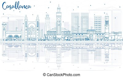 Outline Casablanca Skyline with Blue Buildings and Reflections. Vector Illustration. Business Travel and Tourism Concept with Historic Architecture. Image for Presentation Banner Placard and Web Site.