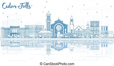 Outline Cedar Falls Iowa Skyline with Blue Buildings and ...