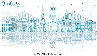 Outline Charleston South Carolina Skyline with Blue...
