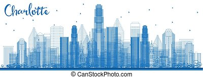 Outline Charlotte North Carolina Skyline with Blue Buildings.