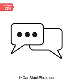 Outline Chat Icon isolated on grey background. Line Dialogue pictogram. Speech bubble symbol for your web site design, logo, app, UI. Editable stroke. Vector illustration. EPS10