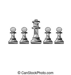 Outline chess pawns and king