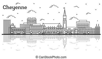 Outline Cheyenne Wyoming City Skyline with Modern Buildings and Reflections Isolated on White. Vector Illustration. Cheyenne USA Cityscape with Landmarks.