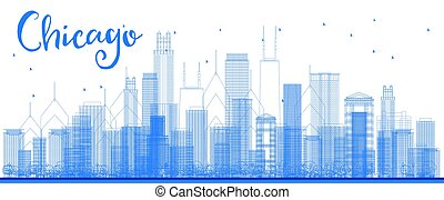 Outline Chicago city skyline with blue skyscrapers.