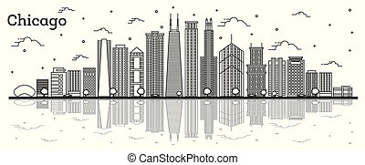 Outline Chicago Illinois City Skyline with Modern Buildings and Reflections Isolated on White. Vector Illustration. Chicago Cityscape with Landmarks.