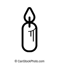 Outline Christmas Candle icon isolated on white background. Line flat sign. Vector illustration, eps10.