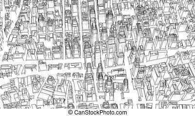 Outline city concept. 3D illustration video