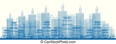 Outline City Skyscrapers in Blue Color. Vector Illustration.