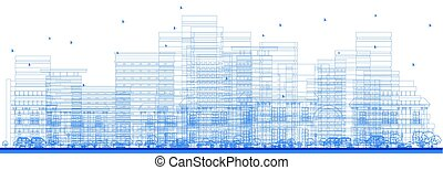Outline City Skyscrapers. Vector Illustration.