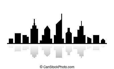 outline., cityscape, vetorial, desenho, pretas