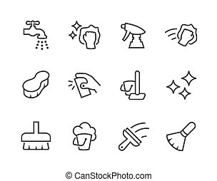 Outline Cleaning Icons - Simple Set of Cleaning Related...