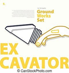 Outline color set with excavator part. Typographic layout...
