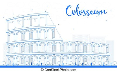 outline, colosseum, 在中, rome., italy., 矢量, illustration.