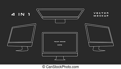 Outline computer monitor isolated on black background. Can use for template presentation, web design and ui kits. White electronic gadget, device mockup. Vector
