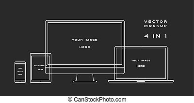 Outline computer monitor, laptop, tablet, smartphone isolated on black background. Can use for template presentation, web design and ui kits. White electronic gadget, device mockup. Vector
