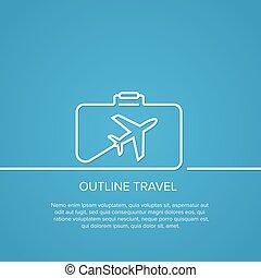 outline., conceito, vacation., viagem, minimal., suitcase.,...