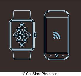 Outline concept design with phone and smart watch