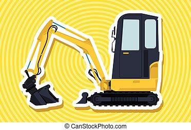 outline., constrói, amarela, pequeno, works., estradas, cavador, chão