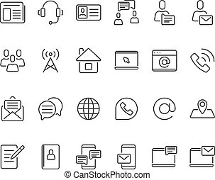 Outline contacts icons. Mobile phone contact icon, mailbox new email and line telephone address book vector set