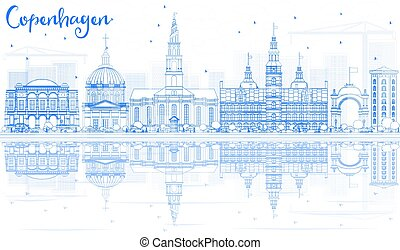 Outline Copenhagen Skyline with Blue Landmarks and Reflections.