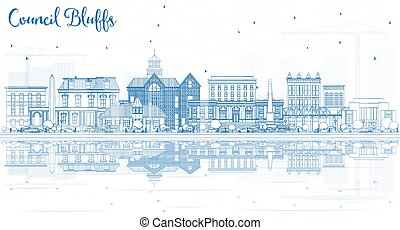 Outline Council Bluffs Iowa City Skyline with Blue Buildings...