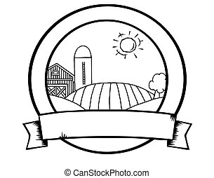 Outline Country Farm Banner - Coloring Page Outline Of...