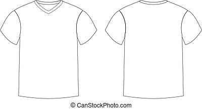 Outline Countur Of Male T Shirt Template V Neck Front And Back Side Views