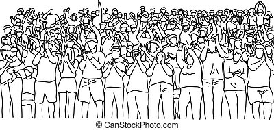 outline crowd people on stadium vector illustration sketch hand drawn with black lines isolated on white background