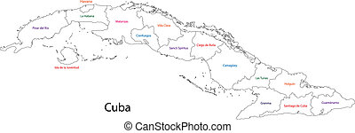 Outline Cuba map with provinces