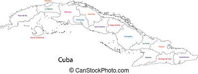 Outline Cuba map with provinces