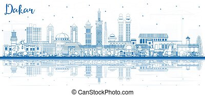 Outline Dakar Senegal City Skyline with Blue Buildings and Reflections. Vector Illustration. Business Travel and Tourism Concept with Historic Architecture. Dakar Cityscape with Landmarks.
