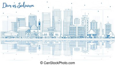 Outline Dar Es Salaam Tanzania City Skyline with Blue Buildings and Reflections. Vector Illustration. Business Travel and Tourism Concept with Modern Architecture. Dar Es Salaam Cityscape with Landmarks.