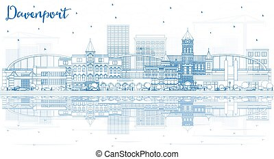 Outline Davenport Iowa Skyline with Blue Buildings and ...