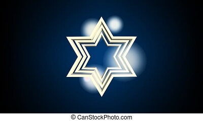 Outline David star, jewish symbole, zooming on dark background with blurry lights. Animation for jewish holidays.