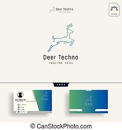 outline deer line art logo vector icon template - Vector