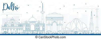Outline Delhi Skyline with Blue Buildings.