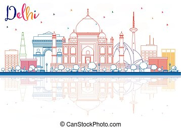 Outline Delhi Skyline with Color Buildings and Reflections.